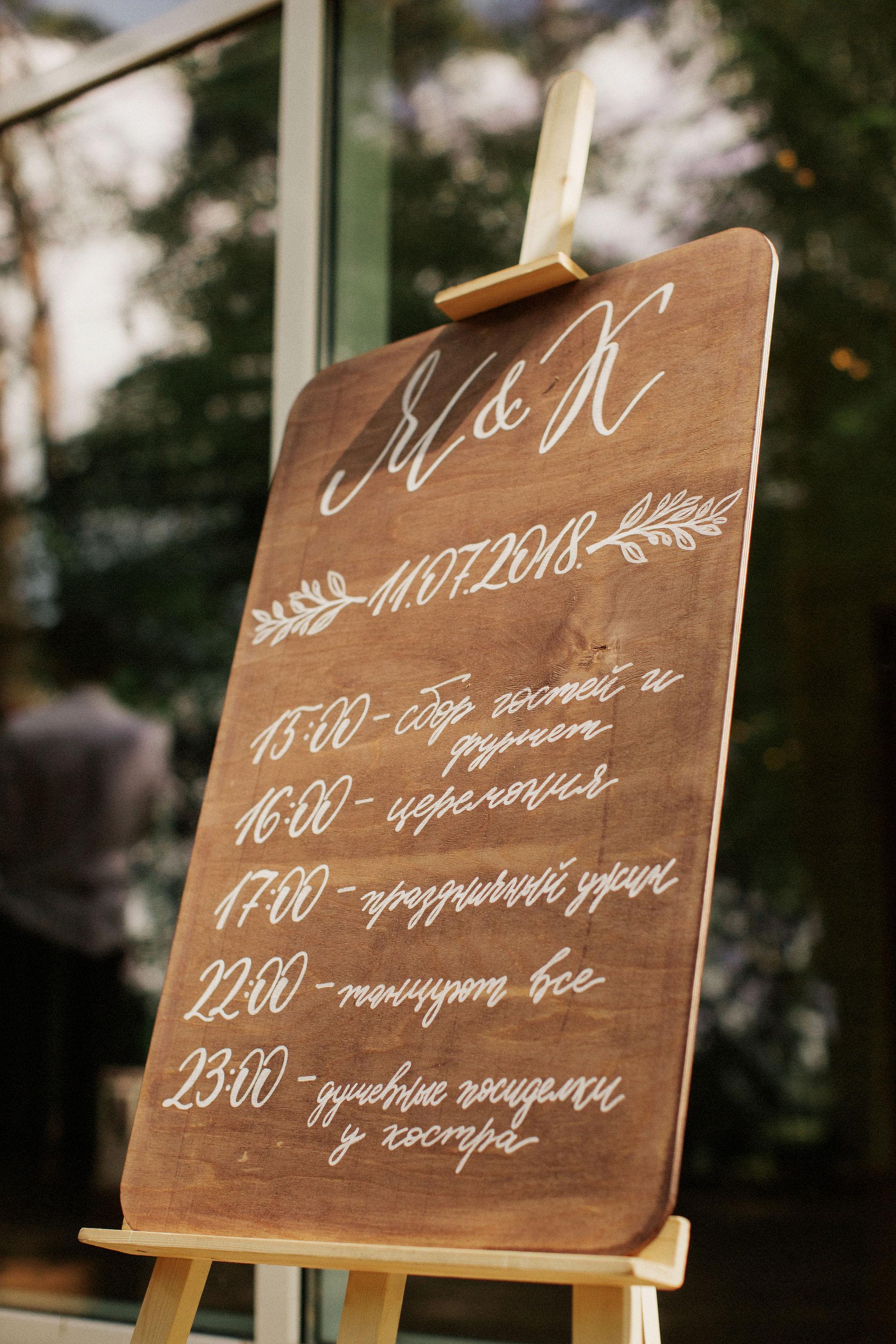 Тайминг план на свадьбу